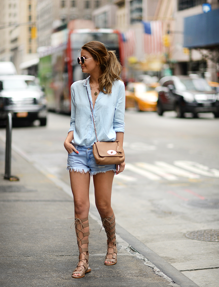 Denim on denim done right. Via Annette Haga Shirt: Gina Tricot, Shorts: Zara, Bag: Mulberry, Sandals: Zara. Double Denim Outfit