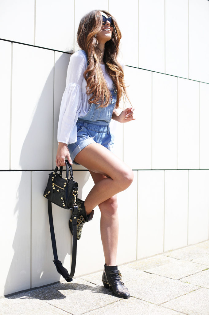 Just add a cute gypsy style  top, a pair of well worn dungarees and ankle boots. Via Lydia Lise Millen  Brands: Not specified. Dungaree Summer Outfit