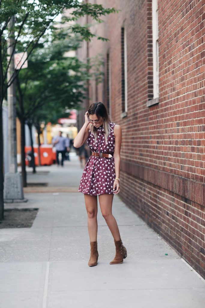 Keep it short and keep it belted, and then add your perfect ankle boots. Via Danielle Bernstein  Dress: Glamorous Dress, Boots: Matisse By Kate Bosworth. Outfit For Summer