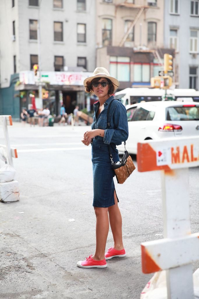 Use a denim skirt in a double denim co-ord outfit with matching top and skirt. Via Christina Caradona.  Top/Skirt: Express, Shoes: Bensimon, Bag: Kate of Arcadia, Sunglasses: Hungry Eyewear. Denim Skirt Outfit Trend