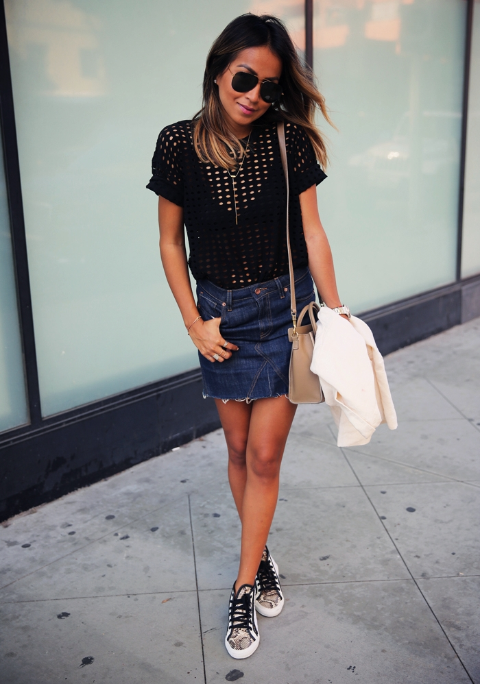 This ultra mini denim skirt outfit will definitely do the trick. Combine it with a simple black eyelet top and snake print sneakers. Via Julie Sarinana Skirt: Genetic Denim, Top: Alexander Wang, Shoes; Superga