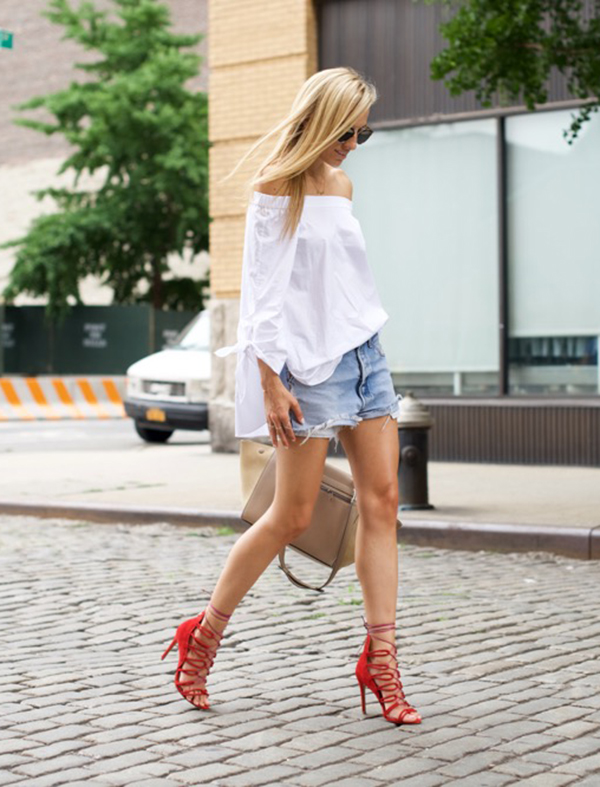 As simple as it gets. White off the shoulder top with a pair of denim cut-offs and red sandals. Via Lisa D Cahue Top: Tibi, Shorts: Levi's, Shoes: Schutz, Bag: Celine