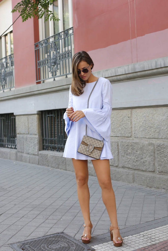There are few trends more feminine than bell sleeves. By wearing light pastel colours on a bell sleeved playsuit, Silvia Garcia has created a gorgeously feminine style which is perfect for beach or bar! Try this look with sandals for that effortless summery vibe.  Playsuit: Zara, Sandals: Sarenza.