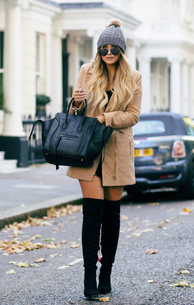 Over the knee boots are all the rage this fall. Try pairing yours with a camel jacket and woolly hat like Sarah Ashcroft. Dress/Coat/Hat: Missguided.
