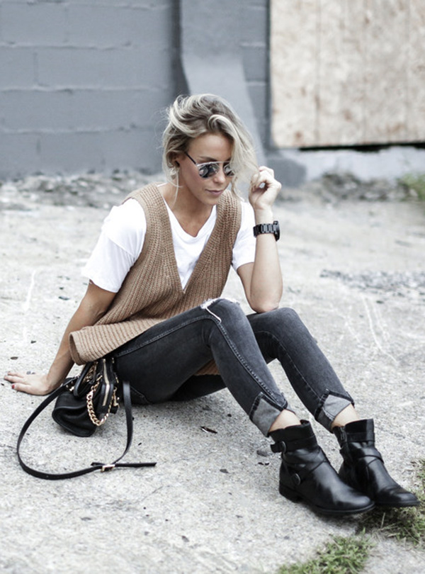 Wear a white tee with a brown vest, ripped skinnies and boots for Fall. Via Mary Seng T-shirt: Nordstrom, Vest: Anthropologie, Jeans: Amo, Bag: Sophie Hulme