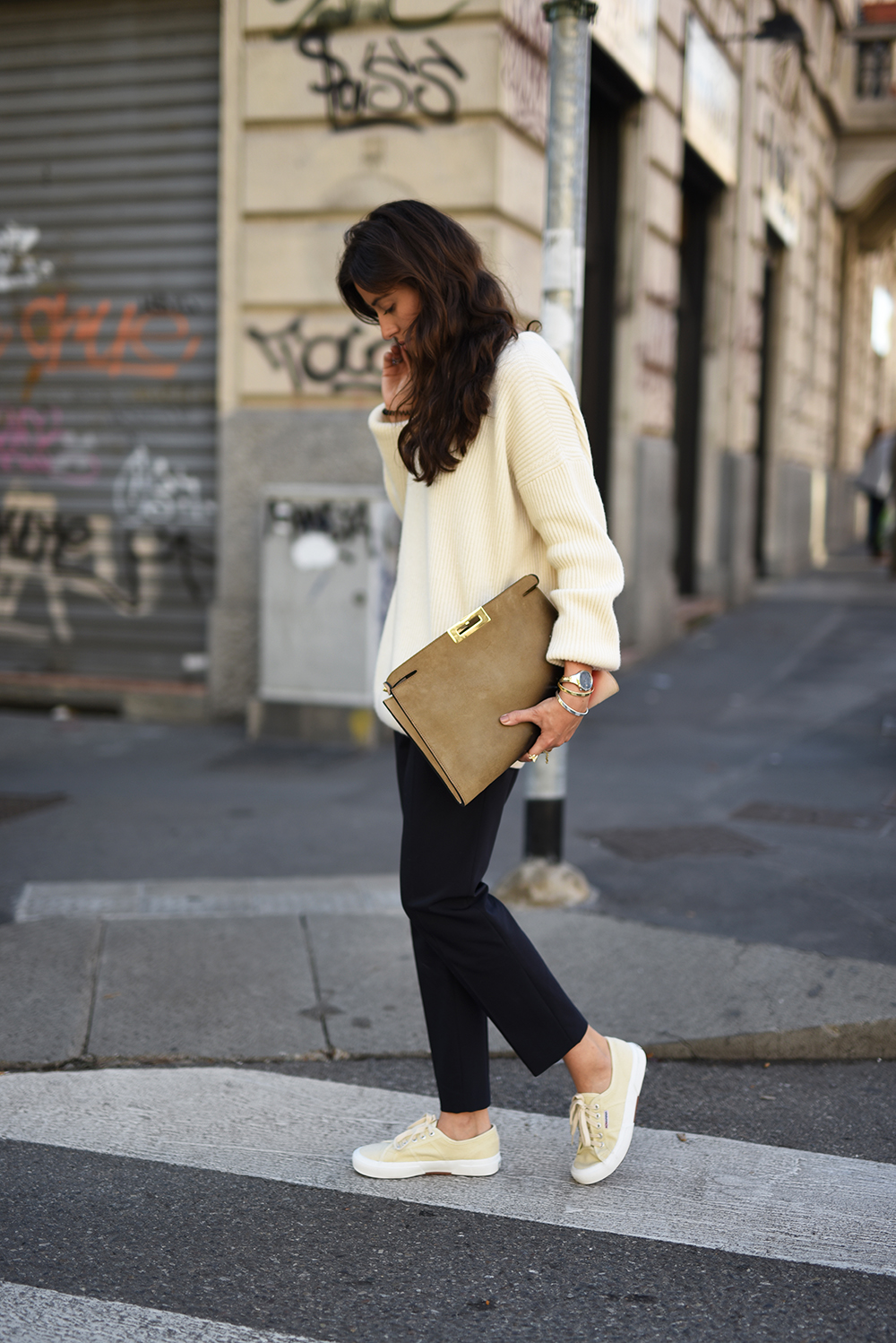 This pale cream knit looks super cute with simple black trousers and crepes. Via Hug-You.com. Knit: Tomas Maier, Trousers: Tibi.