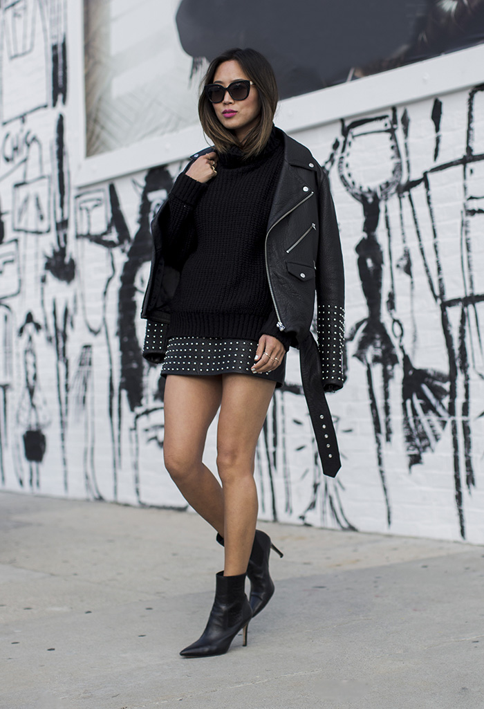 Studded leather is a definite yes! Wear the style like Aimee Song by pairing it with knitwear and a pair of chic leather ankle boots for a winning rocker girl look. Jacket/Skirt: McQ.