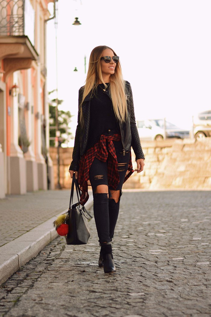 Magda rocks the classic black and red check shirt with distressed black jeans and a leather jacket. Jacket: Denimbox, Sweater: Tutaj, Jeans: Sheinside, Shoes: Dee Zee.