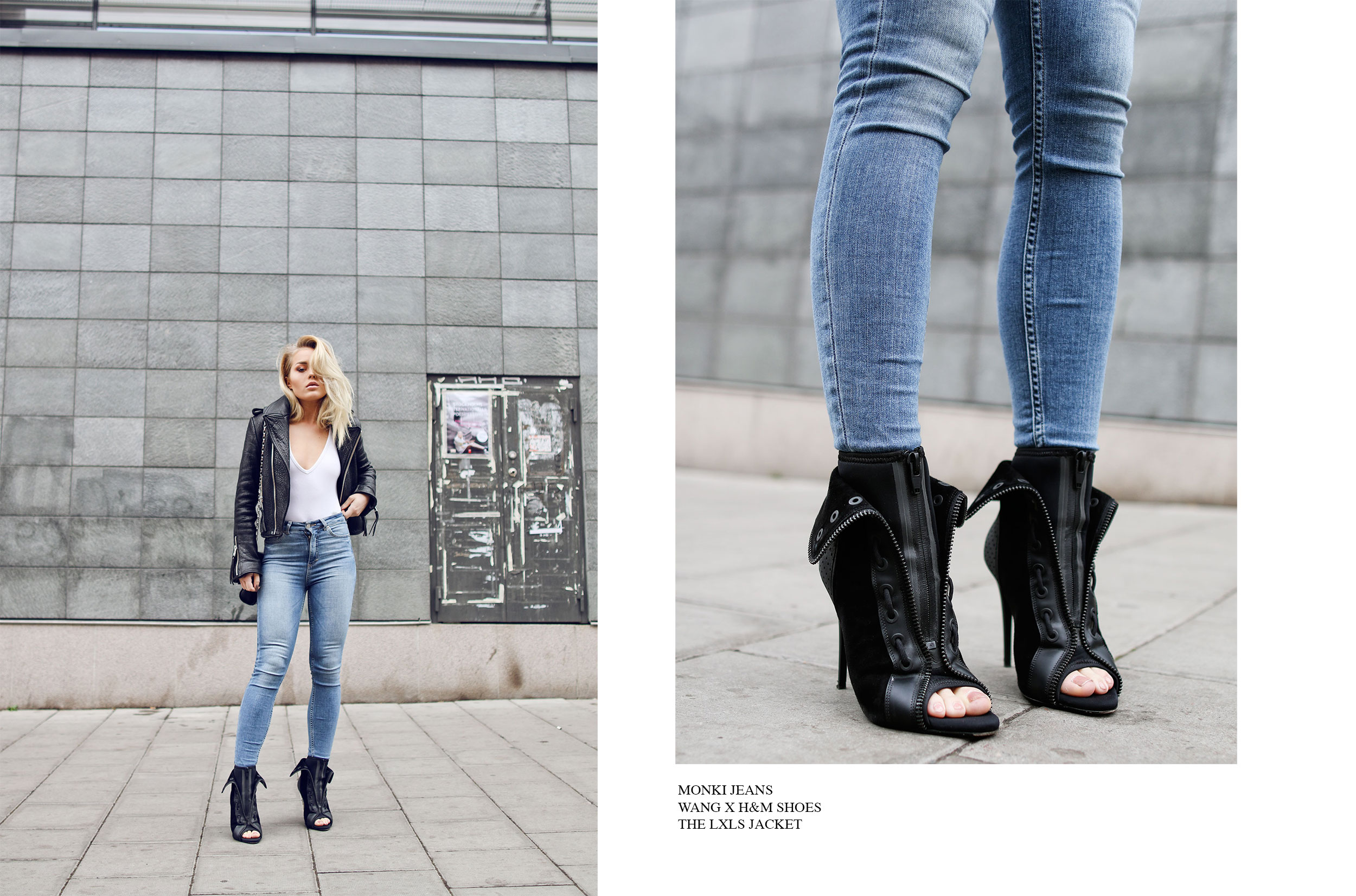 Angelica Blick looks great in the classic rocker girl style leather jacket and jeans. We especially love the badass heeled boots. Jeans: Monki, Shoes: H&M, Jacket: The LXLS.