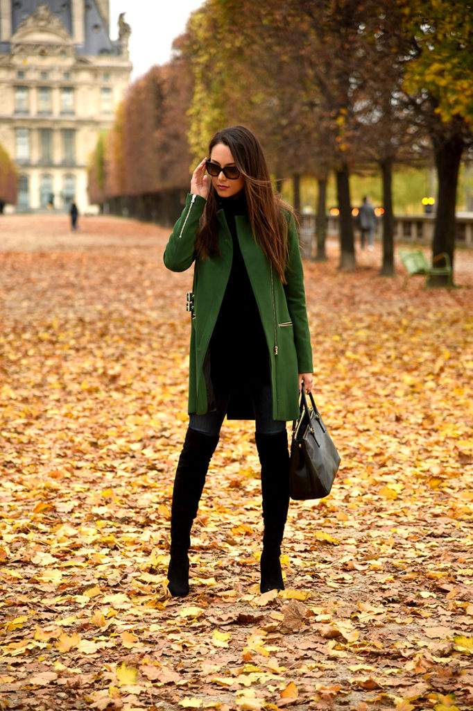 Jessica R. looks cute and ready for winter in this emerald green coat. You can get a similar look by pairing your over the knee boots with a block coloured coat.   Coat: Zara, Turtleneck: Banana Republic, Jeans: Denim, Boots: Ivanka Trump, Bag: Prada.