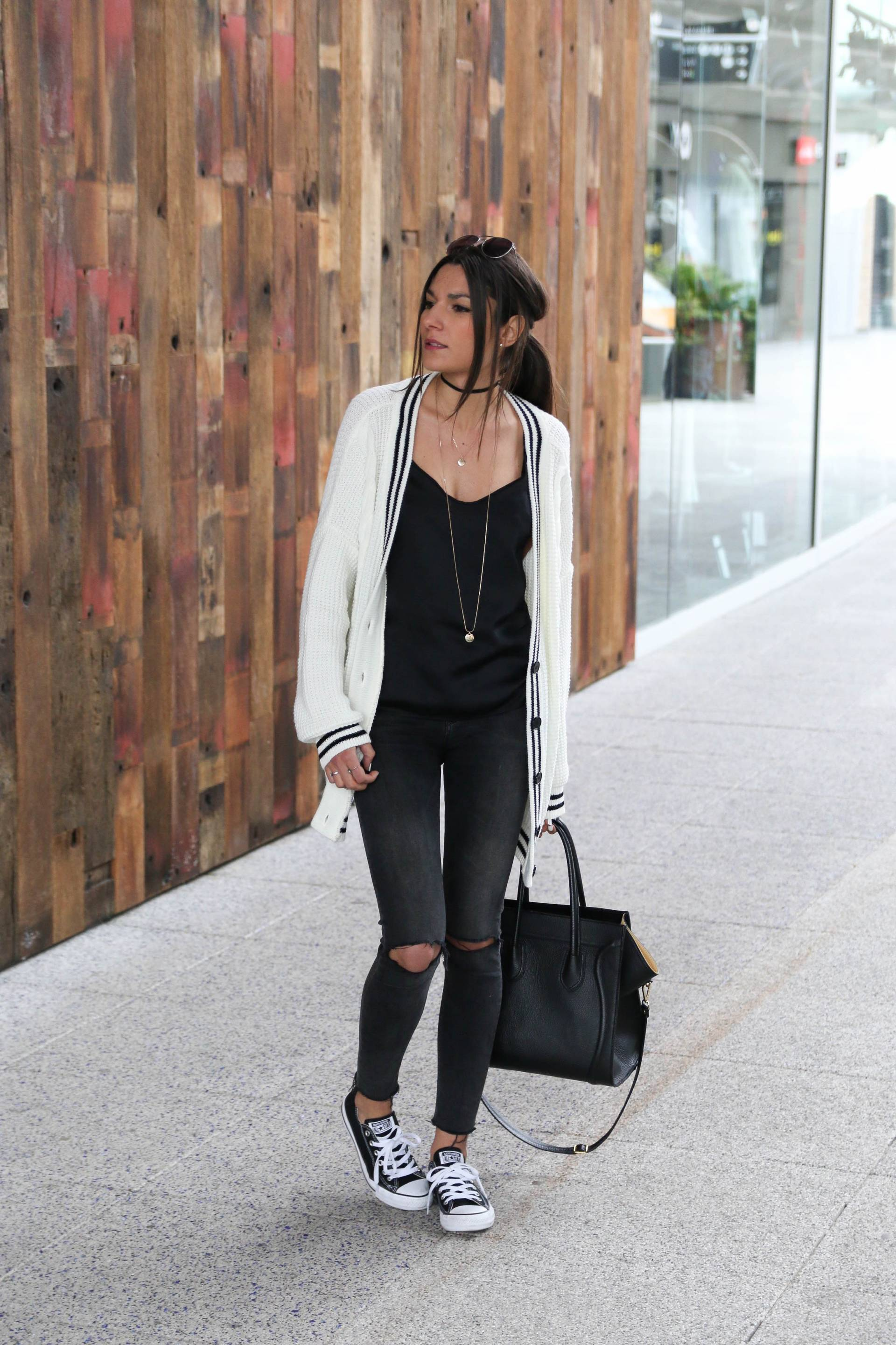 Wear converse with a cable knit cardigan and a pair of ripped black jeans to steal Federica L.'s cute and casual style. This look is affordable and achievable; what's not to love? Cardigan: Asos, Top: Zara, Jeans: Bershka, Shoes: Converse.