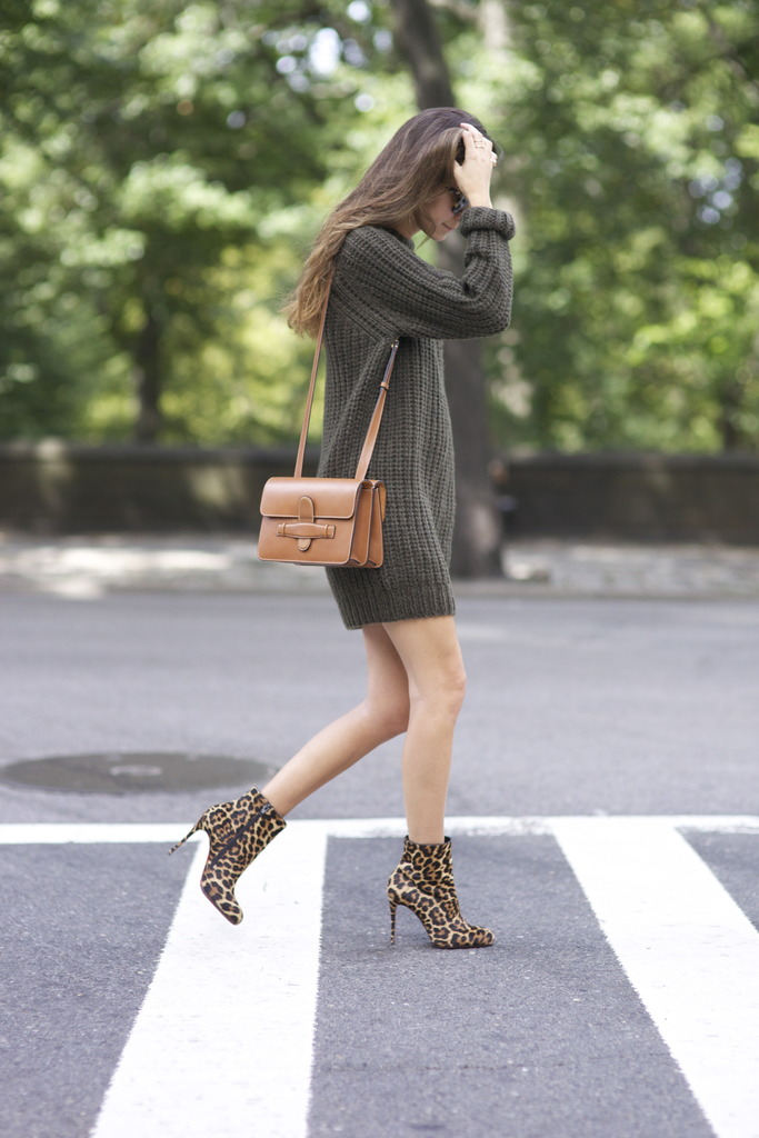 Arielle Nachami looks chic and casual in this green knit pullover and leopard print heels. Dress: NLST, Shoes: Christian Louboutin, Bag: Celine.