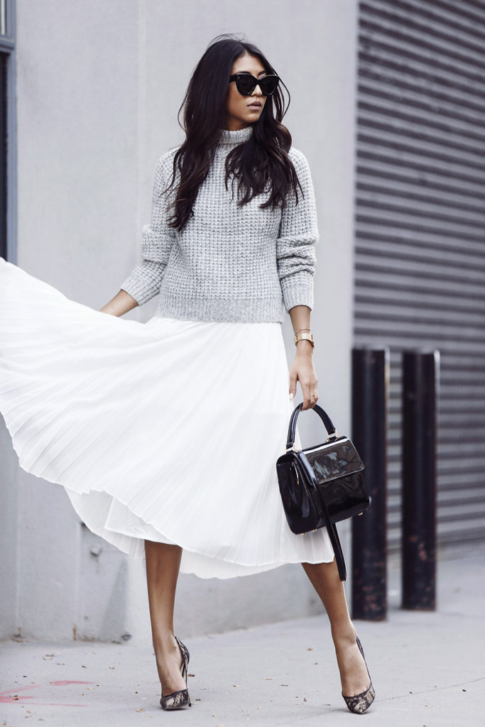 This grey marl knitted jumper goes perfectly with a floaty chiffon skirt. Via Kayla Seah.  Sweater: One Teaspoon, Skirt: Aritzia, Shoes: Jimmy Choo, Bag: Chafor.