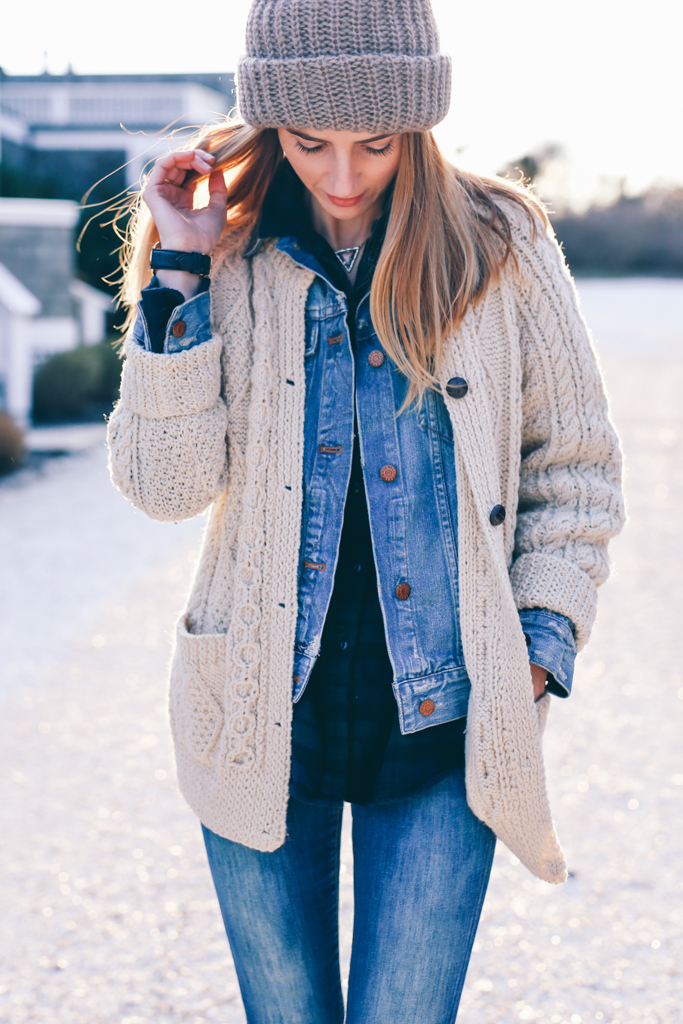 Knitwear is the perfect match to denim. Jess Ann Kirby demonstrates this, pairing a classic Irish knit cardigan with double denim and a cute plaid button down. This look is ideal for every day winter style. Sweater: Irish Knit (Etsy), Jacket/Shirt: Madewell, Beanie: Shopbop, Jeans: Joe's, Boots: Yosi Samra.