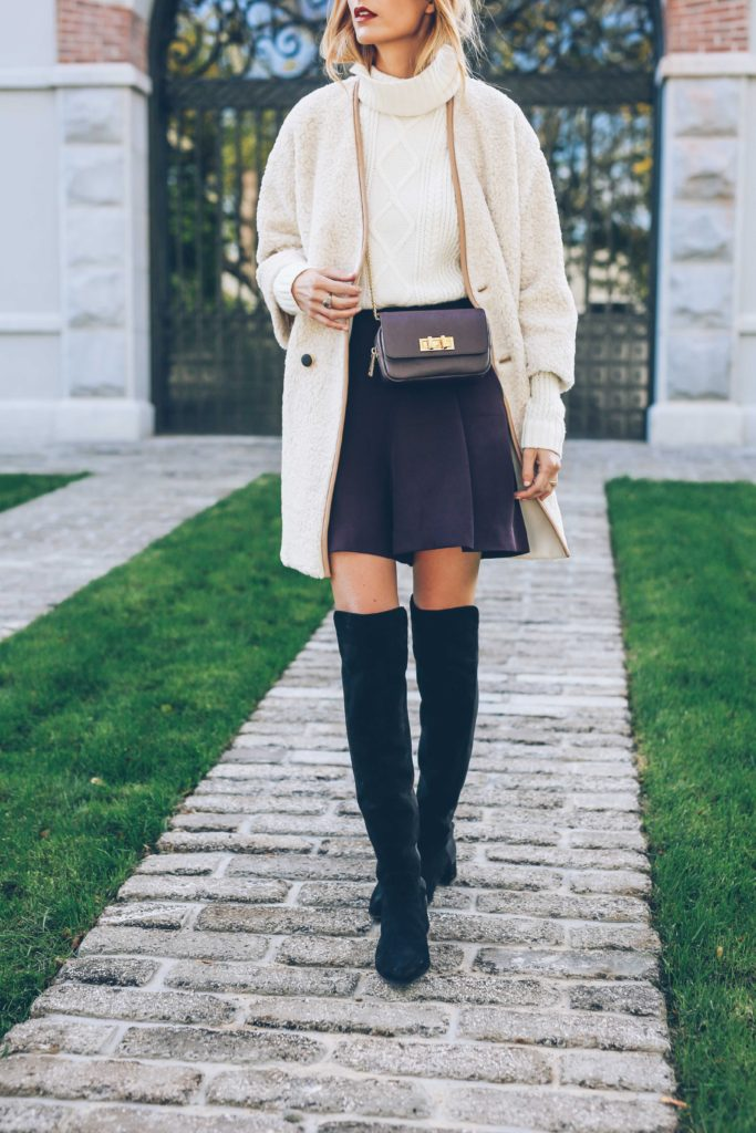 Over the knee boots are the perfect match to cropped culottes. Via Jess Ann Kirby.  Boots: Stuart Weizman, Culottes: Reiss, Coat: French Connection.