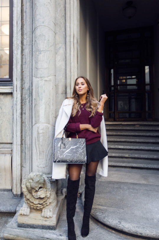f4b27d52ec2 Kenza Zouiten wears her over the knee boots with a black mini skirt and  plum coloured