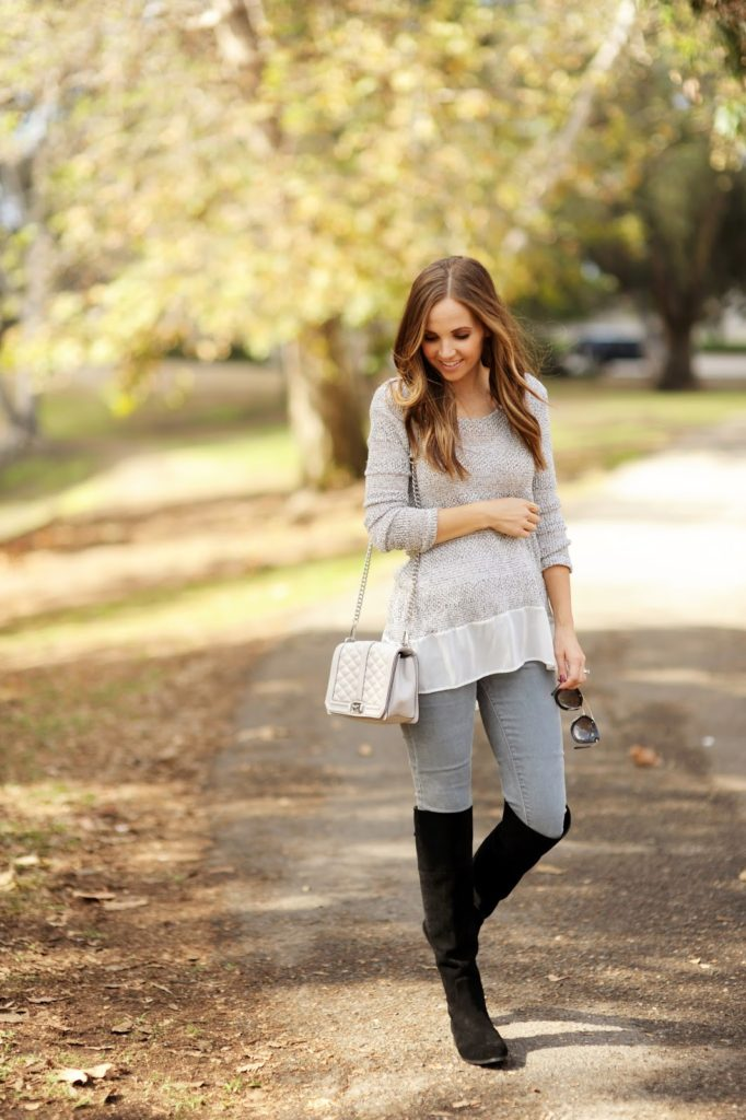 These over the knee boots look great worn with grey skinny jeans and a faded grey top. Via Merricksart.com.  Boots: Charles David, Jeans: Levi's.
