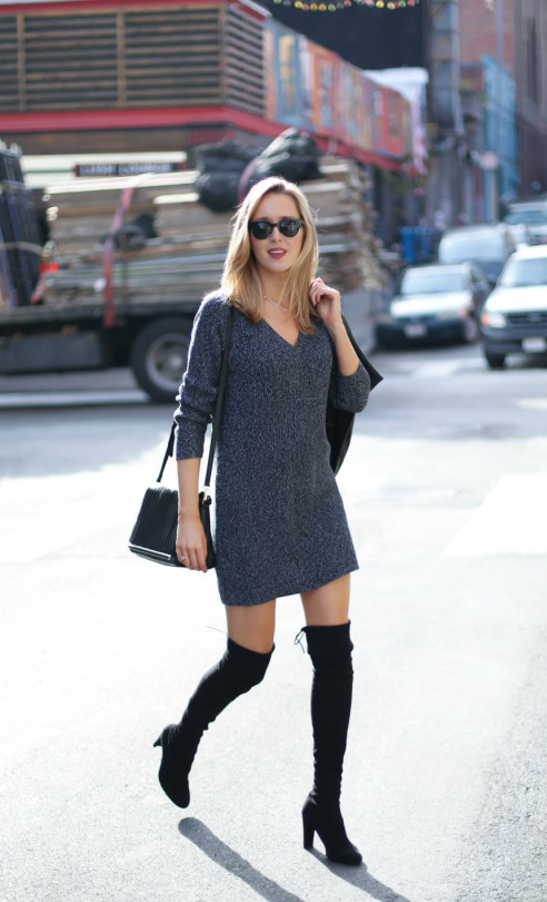 6f5f0d66ad4 A short sweater dress will look super cute with over the knee boots. Via  Memorandum