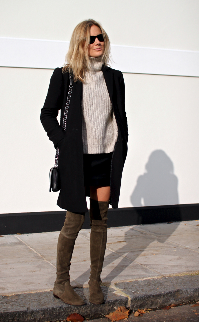 808a9bb12d0d Try wearing over the knee boots with a cream polo neck knit and a  simplistic black