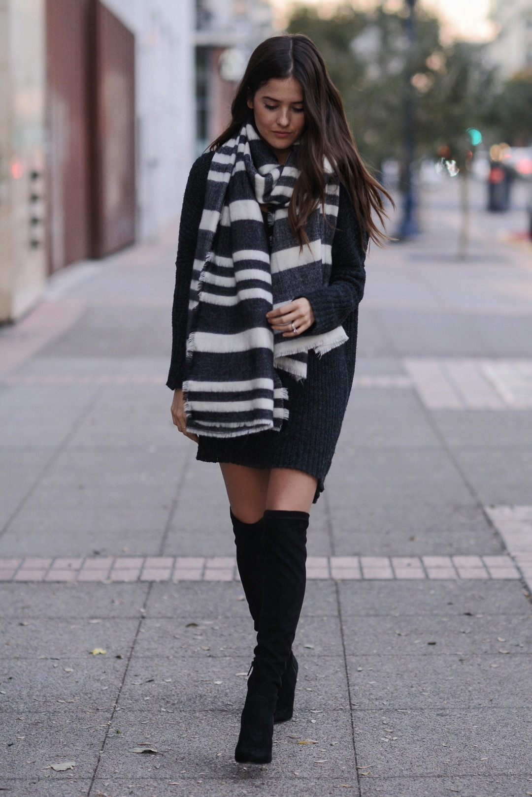 0e88f1b6be Wearing over the knee boots with casual winter outfits can make for an all  round elegant
