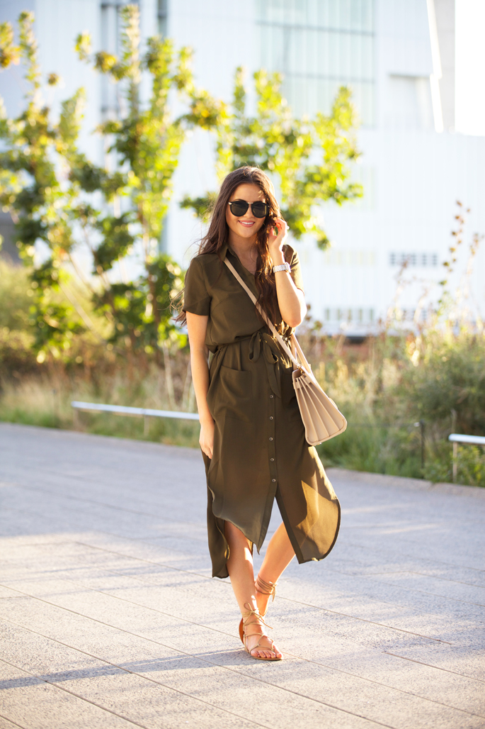 This cute khaki shirt dress is perfect for summer wear. Via Rachel Parcell. Dress: ASTR, Sandals: Steve Madden.