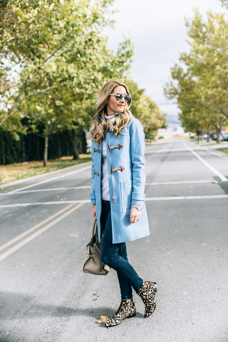 100743e894f We love the brightly coloured coat trend. This bright blue duffle looks  cute and casual