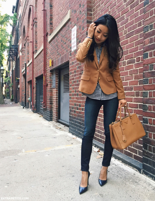 Angelica Blick shows us how to wear the two piece trend, pairing this grey number with a leather jacket and navy heels.