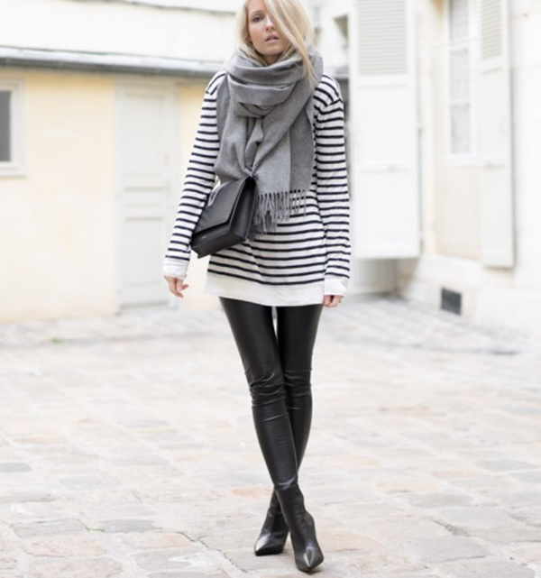 Fightny dresses up a casual striped top and leather leggings by adding a large grey scarf and cute cross-over box bag. Scarf: Topshop, Leggings/Top: Net A Porter.