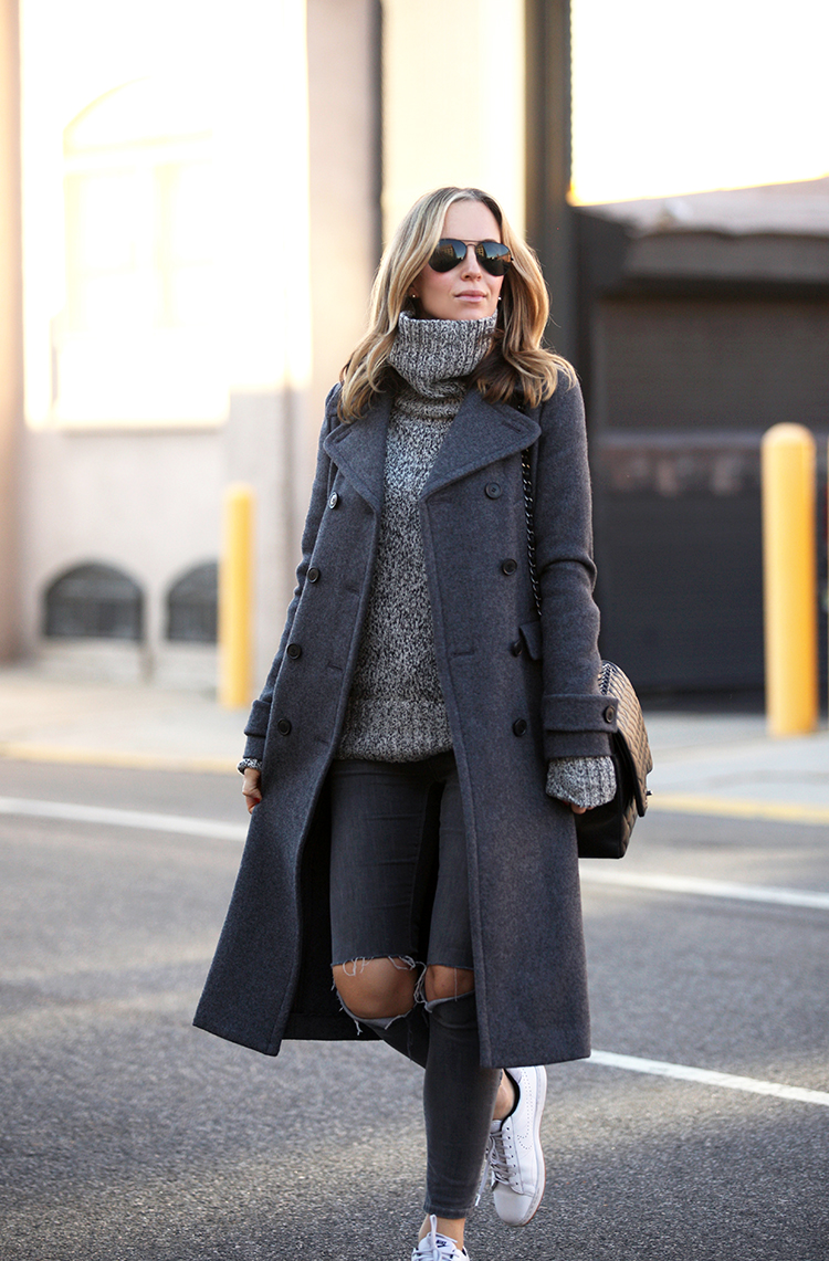 295d69ed05445 Helena Glazer wears a maxi coat in marl grey with skinny jeans and sneakers.  Coat