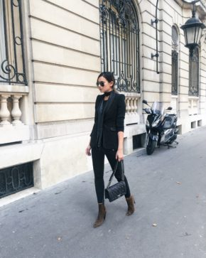 Wear a skinny scarf with a black blazer and jeans to recreate Danielle Bernstein's stylish look. Blazer: Alice and Olivia Jeans: Tosphop Boots: Isabel Marant, Skinny Scarf: Asos.