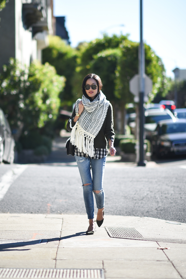 Wear an oversized scarf with a casual fall outfit to get that simple chic look. Via Ann Taylor. Sweater :Vince, Scarf: Sole Society, Shirt: Equipment, Jeans: Madewell.