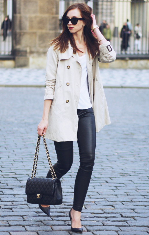 If in doubt, wear your beige trench coat with a simple leather leggings and pumps combination. This look is both relatively effortless and ultra sophisticated; perfect for an everyday look. Via Barbora Ondrackova. Shirt: Zara, Coat: Burberry, Leggings: Balenciaga, Pumps: Jimmy Choo, Bag: Chanel.