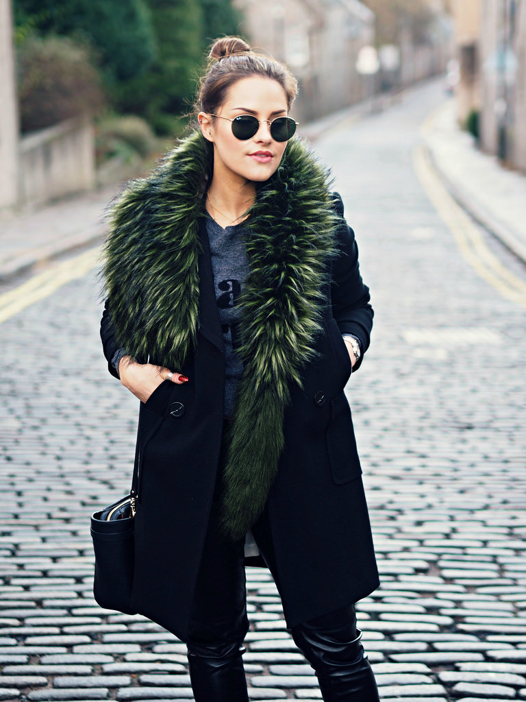 Dare to wear the faux fur mink trend this season. This emerald coloured piece by Charlotte Simone is great worn with a relatively plain outfit because it adds style and works as a statement piece. Via Amy Spencer. Fur: Charlotte Simone, Jacket/Trousers: H&M, Jumper: Topshop, Boots: Asos.