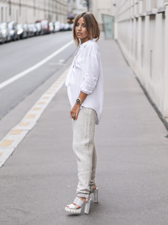 All white is the way to go. These chunky platform heels add edge and authenticity to Camille Callen's stylish white jogger and shirt combination.   Top: Sheinside, Joggers: My Sunday Morning, Shoes: Forever21.