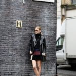 Elsa Ekman hits the London streets in a cute patchwork skirt made up of dark autumnal colours. Wearing a leather jacket with a patchwork item can also add edge and individuality. Jacket: Mango, Turtleneck: Calvin Klein, Skirt: Zara, Bag: Diesel, Shoes: Zalando.