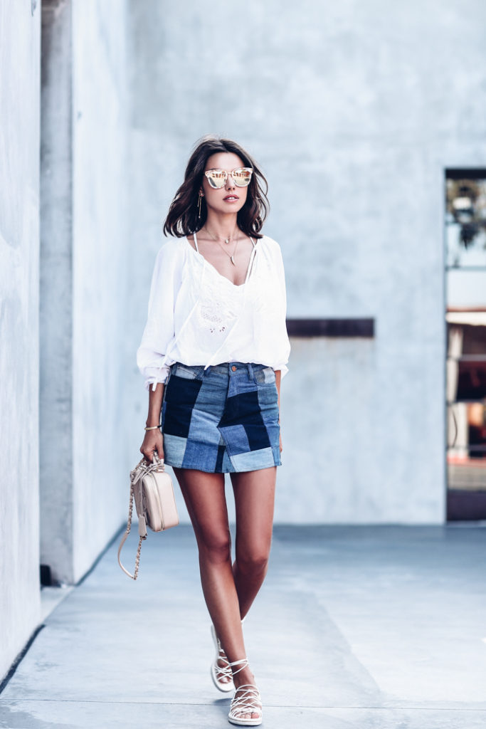 The patchwork trend is simply perfect for getting that carefree summer vibe which we all crave. In super cute blue toned patchwork shorts, Annabelle Fleur looks ready and raring to go; we love this look!  Blouse/Skirt: Zadig & Voltaire, Wedges: Chloe, Bag: Chanel.