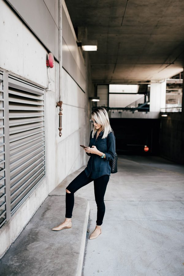 Keep it casual in a plaid shirt and black jeans this season, for an authentic understated look. Megan Anderson is wearing this style with minimal accessories and a pair of ballet pumps. Top/Jeans: ASOS, Shoes: Vince, Sunnies: Nordstrom, Bag: Chanel.