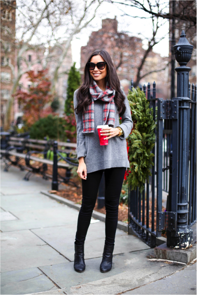Black jeans are the perfect match with a simple knit sweater and tartan scarf outfit. Kat Tanita rocks this casual style, wearing the look with leather ankle boots and stylish sunnies.   Scarf: Faribault, Sweater: Cynthia Rowley, Jeans: Levi's, Boots: Rag & Bone.
