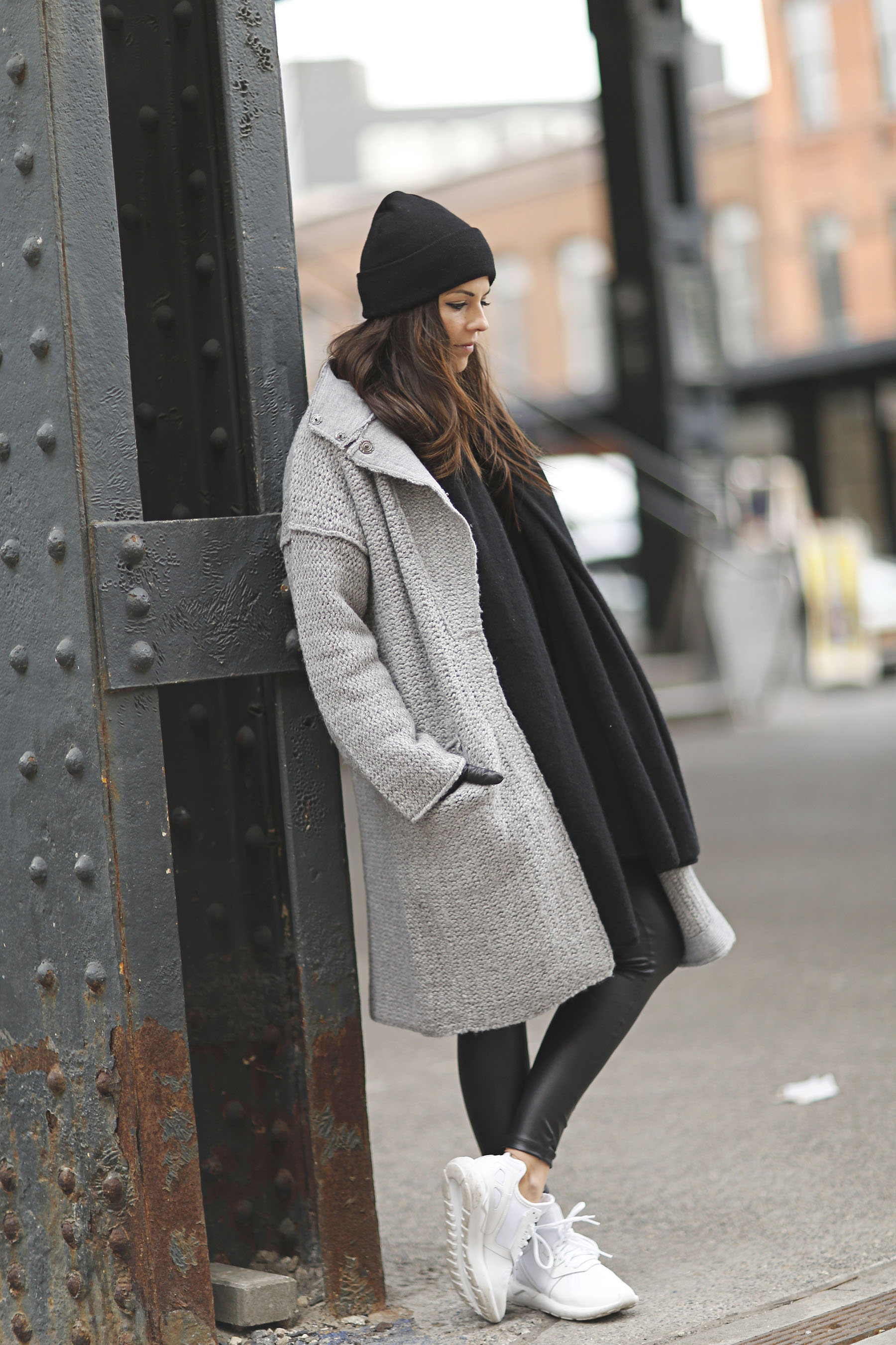42 Cute n' Cozy Winter Outfit Ideas. By. An easy fix for a simple outfit in black and white is a hot red shoe. Try it in an open-toe stiletto for a true hot-tamale touch. Winter Outfit.