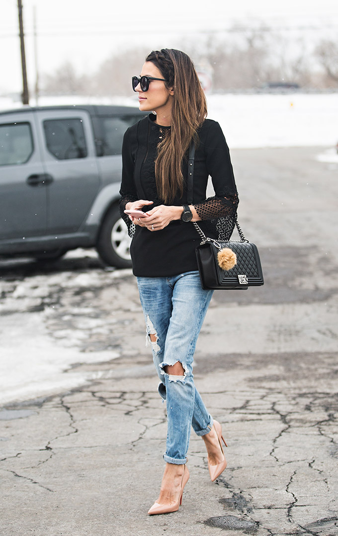 Distressed jeans will always look edgy and cool when paired with nude heels and a simple lace top like this black piece from Shopbop. Christine Andrew has simply aced this style; we recommend you try it! Top: Shopbop, Jeans: Nordstrom, Pumps: Christian Louboutin.