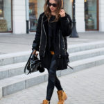 Julietta Kuczyńska wears a pair of Timberlands in a more androgynous style; rocking this cool and edgy shearling jacket and leather leggings combination. Timberlands really will make the perfect addition to your tomboy look! Blouse: Vintage, Coat: Stradivarius, Leggings: Agnieszka Maciejak, Vest: Zara, Shoes: Timberland.