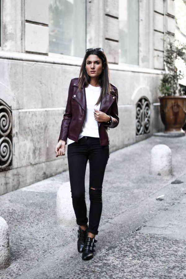 We are loving Federica L.'s simple leather jacket style, consisting of a plain white tee, black jeans, and a pair of metallic buckled booties. A look such as this is perfect for more casual occasions, but can be dressed up with heels. Jacket: Jennyfer, Tee: Zara, Jeans: Cheap Monday.