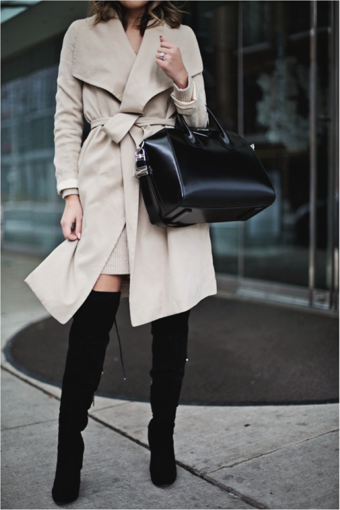 You can simply never go wrong with a thigh high boots and rain mac combination! Stephanie Sterjovski demonstrates this fact, looking super sophisticated and ready for winter in this gorgeous wrap around mac.  Brands Not Specified.