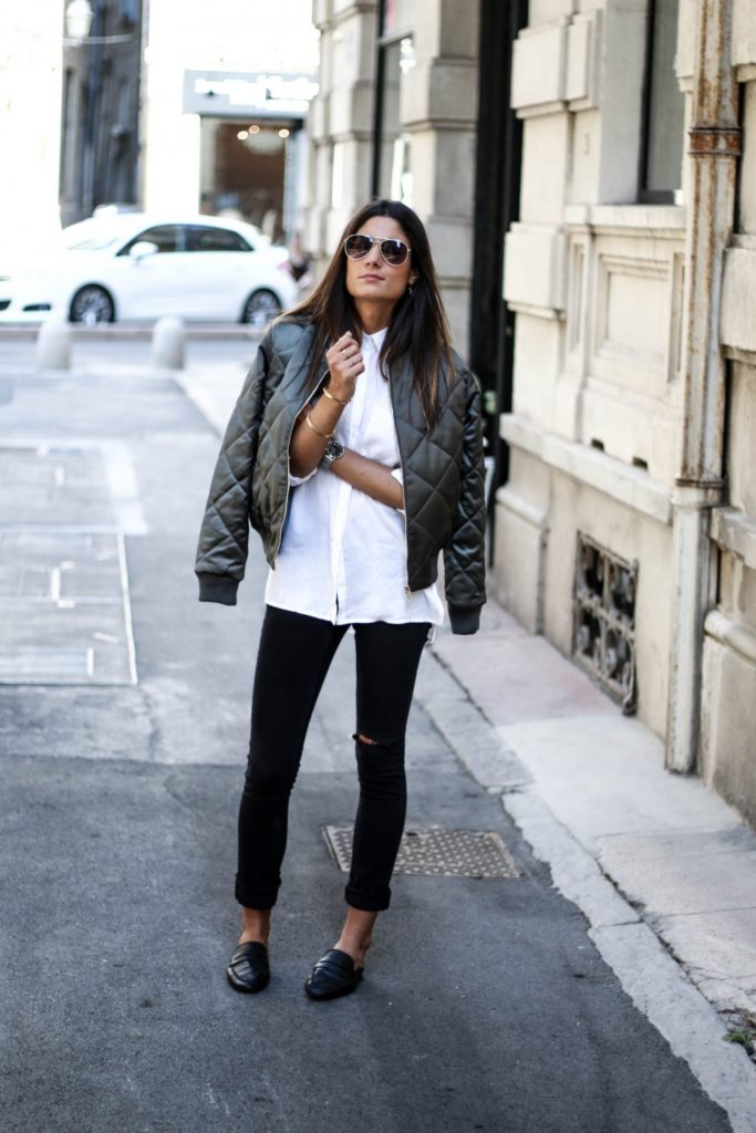 For an effortlessly chic look, why not try a quilted bomber jacket over a white button up with black jeans like Federica L. This style is gorgeously boyish, and will give you that edge you crave.  Jeans: Cheap Monday, Jacket: Asos, Shirt: Jennyfer.