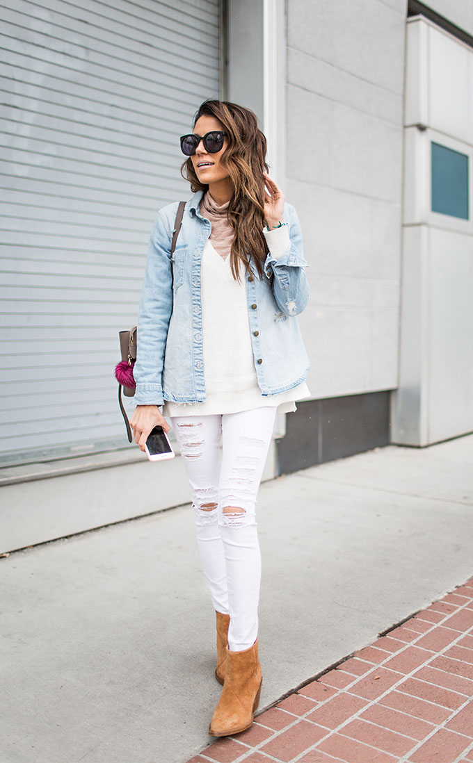 We all know that white denim is the ultimate spring trend, especially when worn with a matching white top and a denim shirt like Christine Andrew. This look is light, fresh, and seasonal - perfect for your spring wardrobe. Top/Jeans: Old Navy, Boots: Acne Studios.