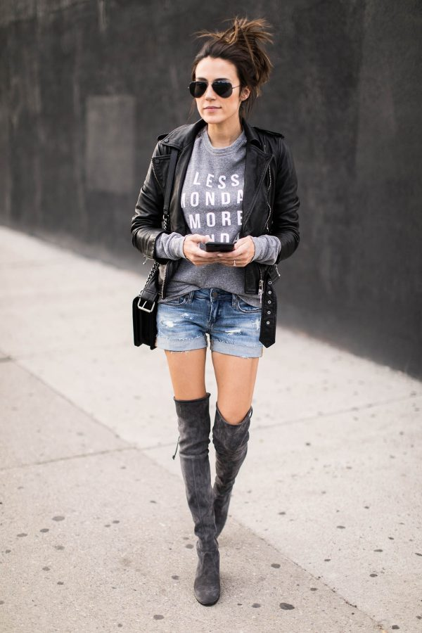A graphic tee will always look stylish worn with a leather jacket and distressed denim. This look is authentically edgy, and will simply never go out of style. Via Christine Andrew. Jacket: Allsaints, Sweater: ILY Couture.
