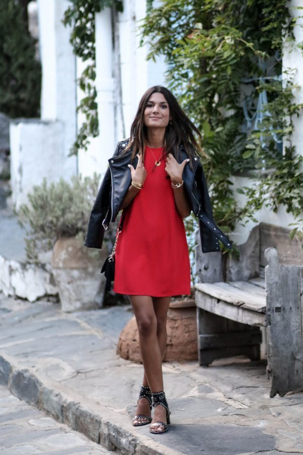 Throw a leather jacket on over your statement summer evening dress to generate a style which retains some edginess. We love Federica L's combination of a leather jacket and studded leather heels. Dress: Zara, Shoes: Shein.