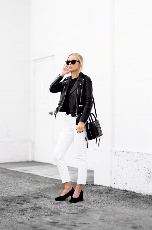 A leather jacket is a must for a classic monochrome outfit like this one worn by Victoria Tornegren. This look is utterly compelling and we love how the contrast really catches your eye! Shoes: Asos, Jeans: Monki, Jacket: Acne, Bag: Rebecca Minkoff.