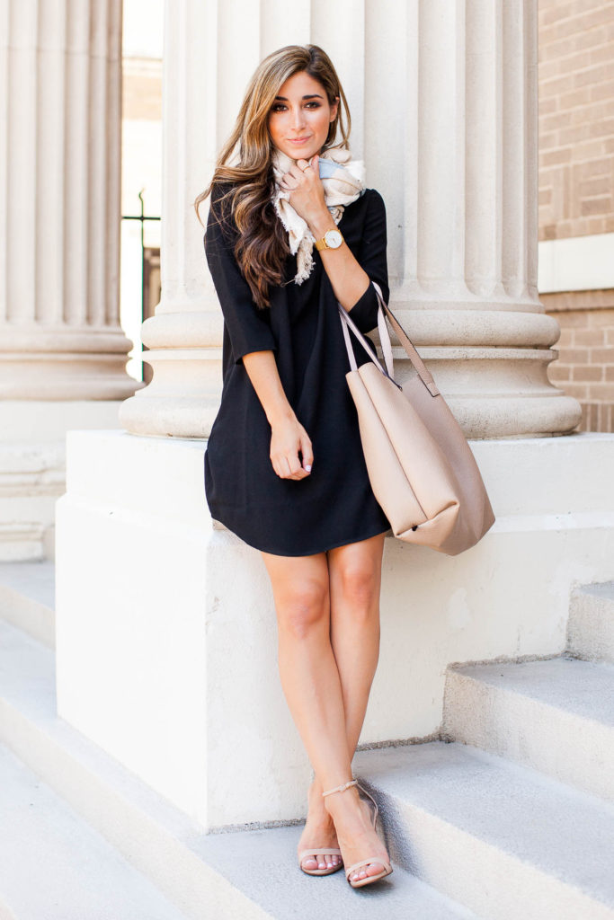 A little black dress is an absolute fashion must have! This gorgeous Nordstrom number is worn with a pair of nude sandals and a pastel coloured scarf to create a fun and fresh spring style. Via Jessi Afshin.  Dress: Nordstrom.