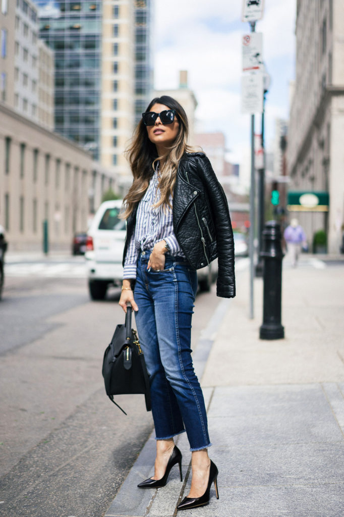 A button up like this one will always look great paired with straight leg denim jeans and a pair of classic black stilettos. Throw on a leather jacket to complete this stylish look! Via Pam Hetlinger.  Jeans: 7FAM, Shirt: Madwell, Jacket: Topshop, Pumps: M. Gemi, Bag: Celine.